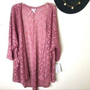 Lularoe Lindsey Pink Lace Kimono